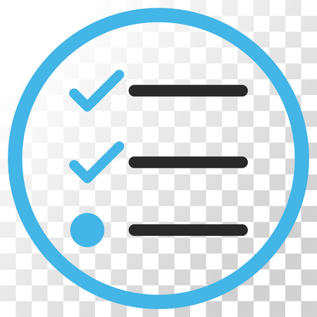 Checklist vector icon. Image style is a flat blue and gray colors iconic symbol.