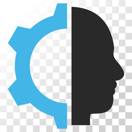 Cyborg Gear vector icon. Image style is a flat blue and gray colors icon symbol.