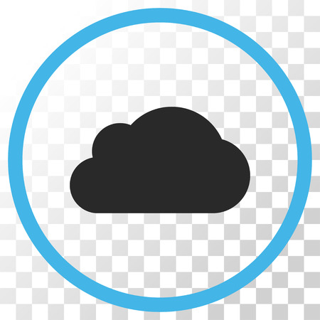saas: Cloud vector icon. Image style is a flat blue and gray colors pictogram symbol.