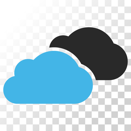 saas: Clouds vector icon. Image style is a flat blue and gray colors icon symbol.