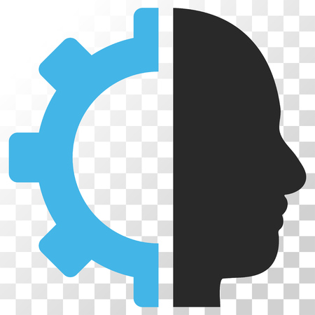 robo: Cyborg Gear vector icon. Image style is a flat blue and gray colors pictogram symbol.