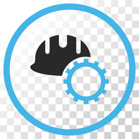 Development Hardhat vector icon. Image style is a flat blue and gray colors iconic symbol. Illustration