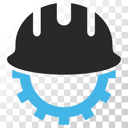 Development Hardhat vector icon. Image style is a flat blue and gray colors icon symbol. Illustration