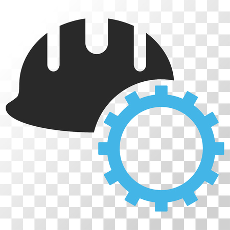 hardhat: Development Hardhat vector icon. Image style is a flat blue and gray colors iconic symbol. Illustration
