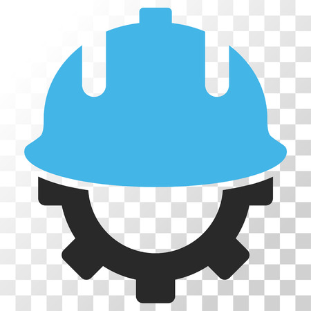Development Helmet vector icon. Image style is a flat blue and gray colors pictogram symbol.