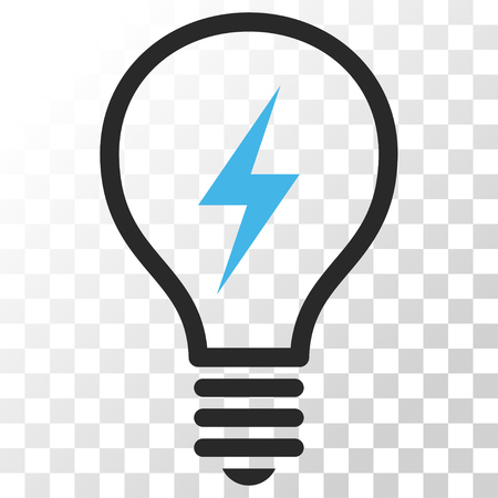electric bulb: Electric Bulb vector icon. Image style is a flat blue and gray colors icon symbol. Illustration