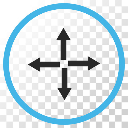 expand: Expand Arrows vector icon. Image style is a flat blue and gray colors pictogram symbol.