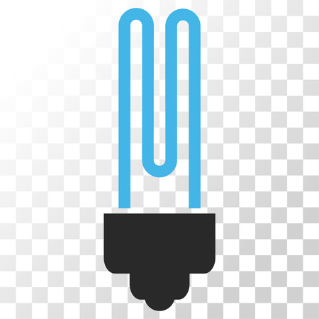gray bulb: Fluorescent Bulb vector icon. Image style is a flat blue and gray colors pictogram symbol.