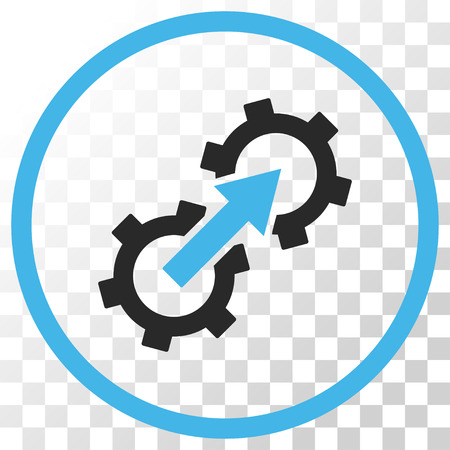 api: Gear Integration vector icon. Image style is a flat blue and gray colors pictograph symbol.