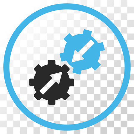 Gear Integration vector icon. Image style is a flat blue and gray colors pictogram symbol.