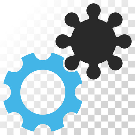 Gears vector icon. Image style is a flat blue and gray colors iconic symbol. Illustration