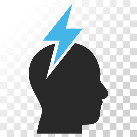 headaches: Headache vector icon. Image style is a flat blue and gray colors pictogram symbol.