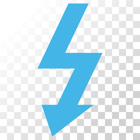 High Voltage vector icon. Image style is a flat blue and gray colors iconic symbol. Illustration