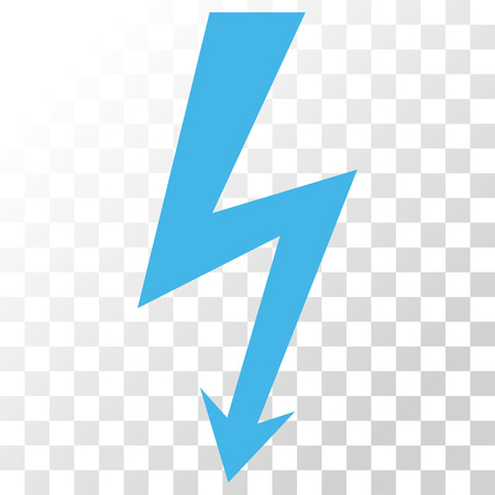 voltage symbol: High Voltage vector icon. Image style is a flat blue and gray colors iconic symbol. Illustration