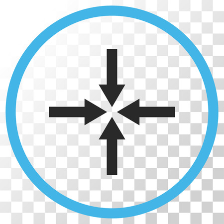 collide: Impact Arrows vector icon. Image style is a flat blue and gray colors icon symbol.
