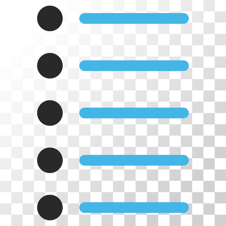 item list: Items vector icon. Image style is a flat blue and gray colors pictograph symbol. Illustration