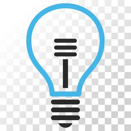 gray bulb: Lamp Bulb vector icon. Image style is a flat blue and gray colors iconic symbol.