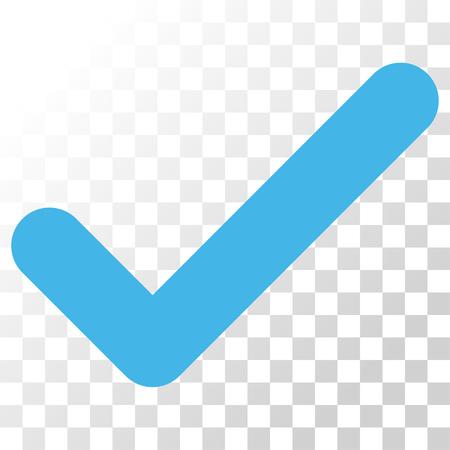 Ok vector icono. El estilo de la imagen es un símbolo de pictograma de colores planos azules y grises.