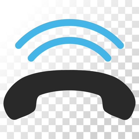 ringtone: Phone Ring vector icon. Image style is a flat blue and gray colors pictogram symbol.