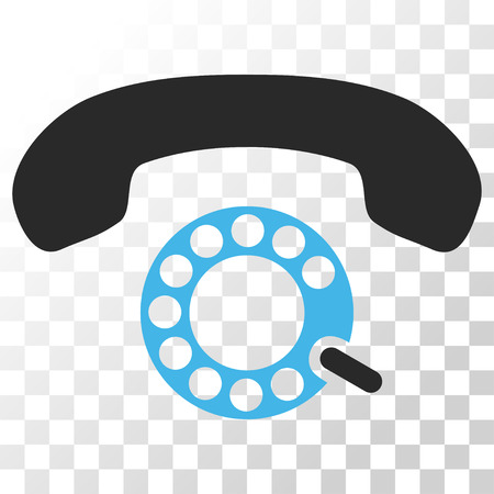 telephony: Pulse Dialing vector icon. Image style is a flat blue and gray colors iconic symbol.