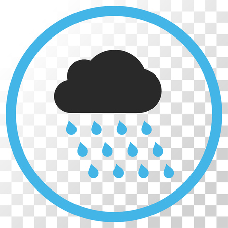 Rain Cloud vector icon. Image style is a flat blue and gray colors pictogram symbol.