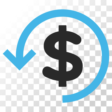 Refund vector icon. Image style is a flat blue and gray colors pictograph symbol.