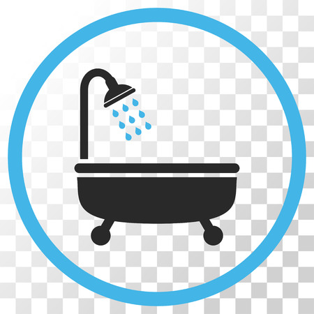 Shower Bath vector icon. Image style is a flat blue and gray colors pictograph symbol. Illustration