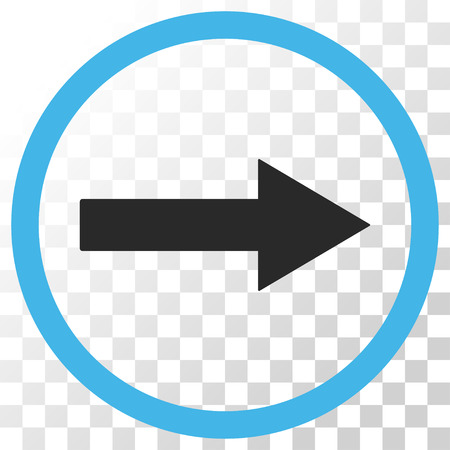 Right Rounded Arrow vector icon. Image style is a flat blue and gray colors icon symbol.