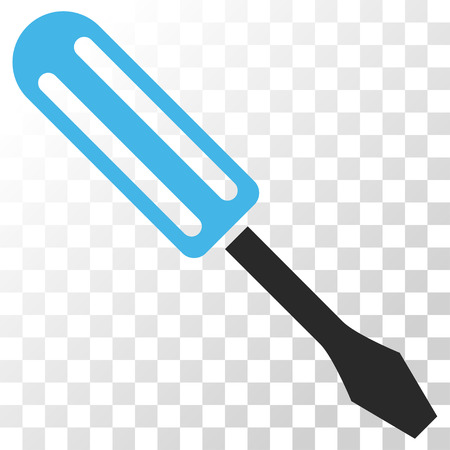 Screwdriver vector icon. Image style is a flat blue and gray colors icon symbol.
