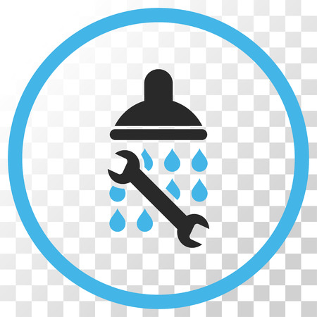 Shower Plumbing vector icon. Image style is a flat blue and gray colors pictogram symbol.