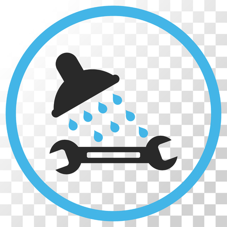 Shower Plumbing vector icon. Image style is a flat blue and gray colors iconic symbol.