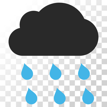 watery: Rain Cloud vector icon. Image style is a flat blue and gray colors icon symbol. Illustration