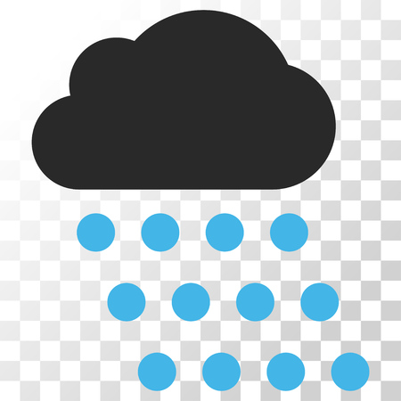 Rain Cloud vector icon. Image style is a flat blue and gray colors icon symbol. Illustration