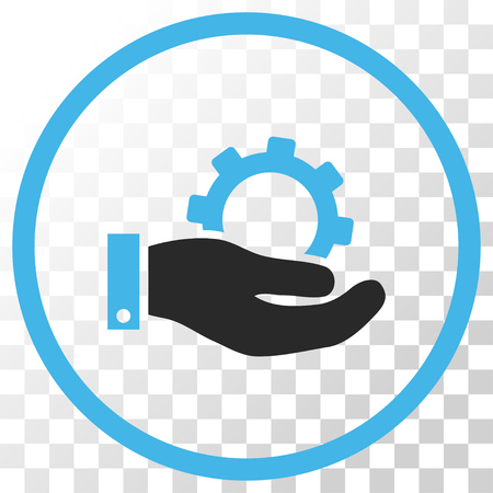 Service vector icon. Image style is a flat blue and gray colors iconic symbol. Illustration
