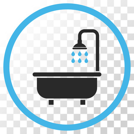Shower Bath vector icon. Image style is a flat blue and gray colors iconic symbol.