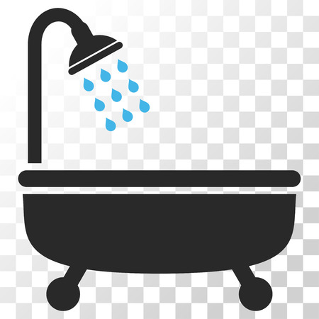 shower bath: Shower Bath vector icon. Image style is a flat blue and gray colors icon symbol.