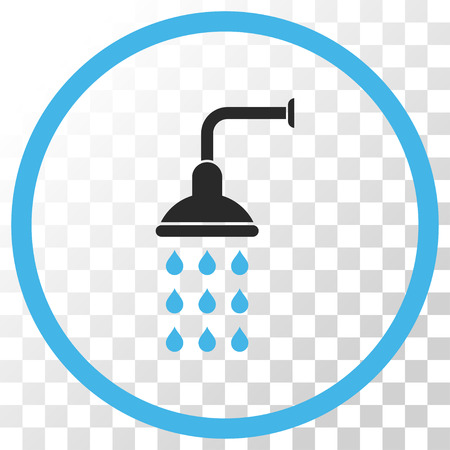 antiseptic: Shower vector icon. Image style is a flat blue and gray colors pictogram symbol. Illustration