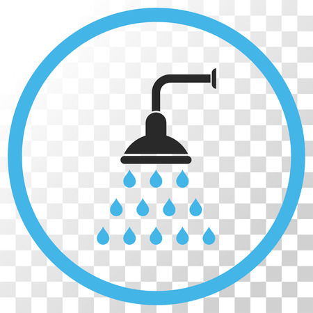 antiseptic: Shower vector icon. Image style is a flat blue and gray colors pictograph symbol. Illustration