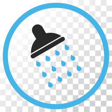 Shower vector icon. Image style is a flat blue and gray colors pictograph symbol. Illustration