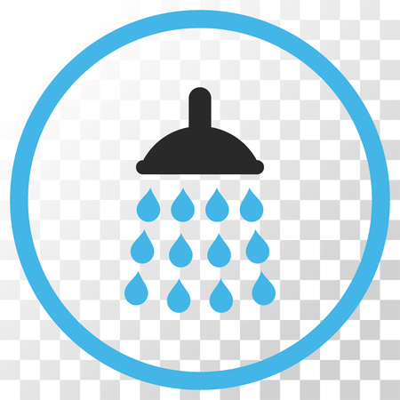 Shower vector icon. Image style is a flat blue and gray colors icon symbol.