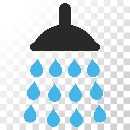 Shower vector icon. Image style is a flat blue and gray colors pictogram symbol. Illustration