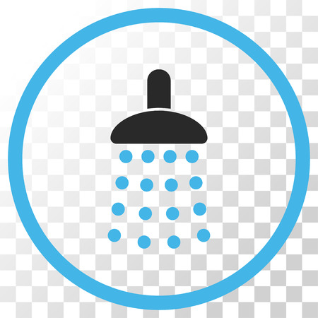 antiseptic: Shower vector icon. Image style is a flat blue and gray colors icon symbol.