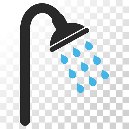 sanitize: Shower vector icon. Image style is a flat blue and gray colors icon symbol.