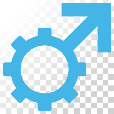 Technological Potence vector icon. Image style is a flat blue and gray colors iconic symbol.
