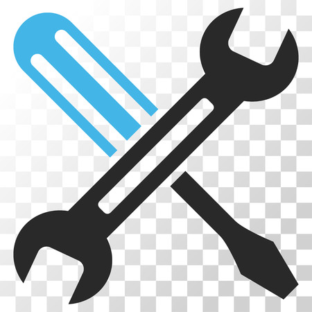 config: Tuning vector icon. Image style is a flat blue and gray colors pictogram symbol.
