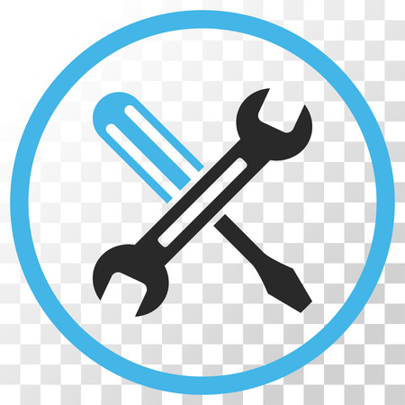 config: Tuning vector icon. Image style is a flat blue and gray colors iconic symbol.