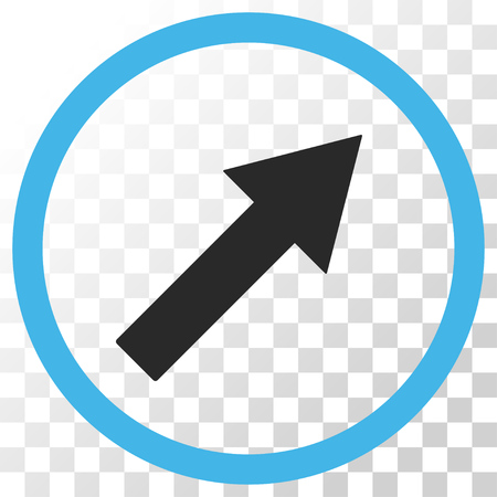 upright: Up-Right Rounded Arrow vector icon. Image style is a flat blue and gray colors icon symbol.
