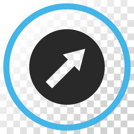 upright: Up-Right Rounded Arrow vector icon. Image style is a flat blue and gray colors pictograph symbol.