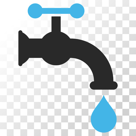 aqueduct: Water Tap vector icon. Image style is a flat blue and gray colors icon symbol. Illustration