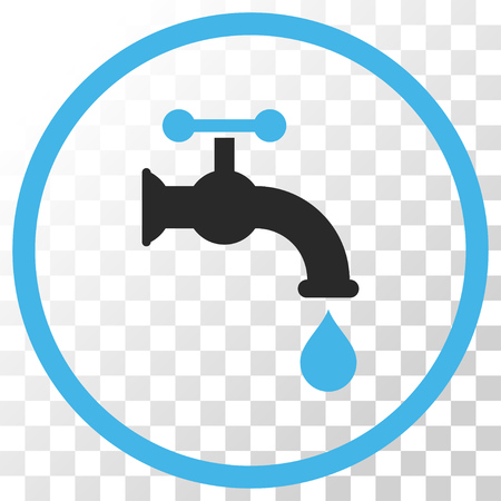 Water Tap vector icon. Image style is a flat blue and gray colors pictograph symbol.